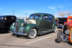 Antique Car: Packard 1940. Check out my lightbox Classic and Antique Cars! This Packard S 8 180 fastback sedan was on exhibition at the 4th annual southwest stock image