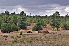 Antique Car and partial log cabin in Linden, Navajo County, Arizona, United States. Antique Car and partial abandoned log cabin in a field surrounded by trees Stock Photos