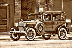 Antique car Restored. Antique care beautifully restored with shades and refurbished interior. Photo edited stock photography