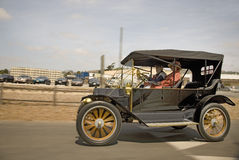 Antique car in Santa Paula,. CA and people in old-fashioned clothing stock photo