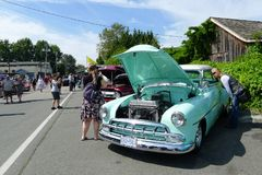 1950's Vintage Cars in Show on the Street. Car show in metro Vancouver, BC, Canada. Vintage car show outdoors stock photos