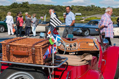Antique car in the Street. Sables d Olonne, France  - September 23, 2016 : English vintage car rally in the streets of the city, A Nous les Belles Anglaise Royalty Free Stock Image