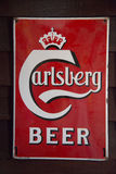 Antique Carlsberg advertising board Royalty Free Stock Image