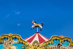 Antique carousel horses tent Stock Images