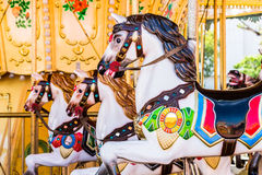 Antique carousel horses Stock Photo