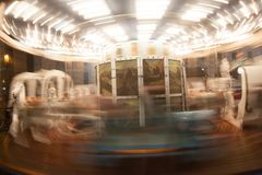 Antique carousel next to Palazzo Carignano, Turin, 2013 stock images