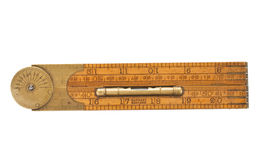 Antique carpenter's folding ruler of 19th century Royalty Free Stock Photography