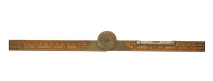 Antique carpenter's folding ruler of 19th century royalty free stock photos