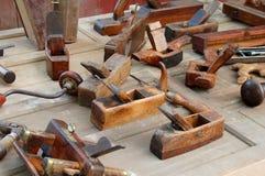 Antique Carpenter Tools. Antique tools on table stock image