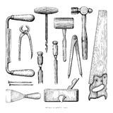 Antique carpenter tools hand drawing vintage style on white back. Ground royalty free illustration