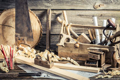 Antique carpentry workshop Stock Images