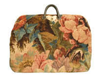 Antique carpetbag with a flower pattern Stock Image
