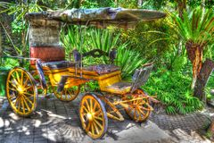 Antique carriage in Bali Zoo. An antique carriage which is situated in Bali Zoo, Indonesia Stock Photography