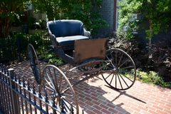 Antique Carriage Stagecoach. A carriage is a wheeled vehicle for people, usually horse-drawn; litters palanquins and sedan chairs are excluded, since they are Stock Photos