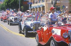 Antique Cars in July 4th Parade, Pacific Palisades, California Royalty Free Stock Images