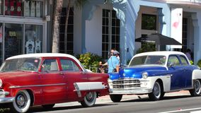 Antique cars in Miami Beach stock footage