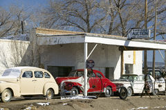 Antique cars on roadside on Route 54, Carrizozo, southern New Mexico Stock Image
