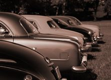 Antique Cars in Sepia Color Stock Photo