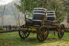 Antique cart for transporting goods stock image