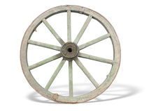 Antique Cart Wheel made of wood and iron-lined Royalty Free Stock Photos