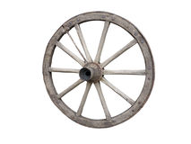 Antique Cart Wheel made of wood and iron-lined, isolated Stock Photography