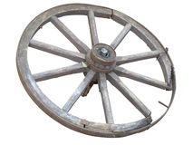 Antique Cart Wheel made of wood and iron-lined isolated over whi Stock Photos