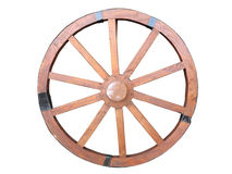 Antique Cart Wheel made of wood and iron-lined isolated Stock Images