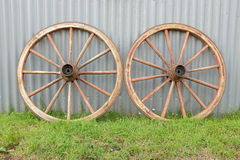 Antique cart wheels. Royalty Free Stock Image