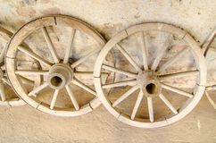 Antique Cart Wheels made of wood Royalty Free Stock Image
