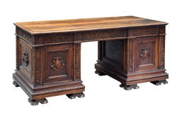 Antique carved mahogany writing desk royalty free stock images
