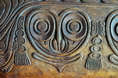 Antique Carved Wood Bas Relief Stock Photos