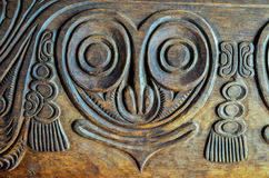 Antique Carved Wood Bas Relief Stock Images