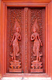 Antique carved wooden door. Stock Photo
