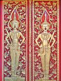 Antique carving golden Thai pattern or Lai Thai on red background. vector illustration