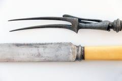 Antique carving knife and fork set , vintage cutlery Stock Images