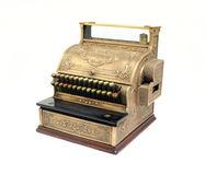 Antique Cash Register. Photographed on white Stock Photo