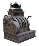Antique cash register. Old silver cash register isolated on white Stock Image