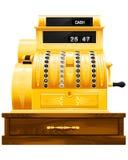 Antique cash register. Golden antique cash register front view Royalty Free Stock Photos