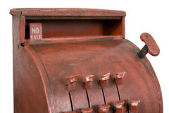 Antique cash register. With no sale prominent. Isolated with work path Stock Photo