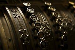 Antique cash register. Closeup view of buttons on a vintage cash register Stock Image