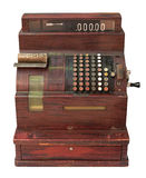 Antique cash register. Antique crank operated cash register isolated on white Royalty Free Stock Images