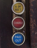 Antique Cash Register Keys with Received on Account, Charge and Paid Out Notations Stock Image