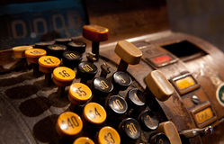 Antique cash register. With push buttons Royalty Free Stock Images