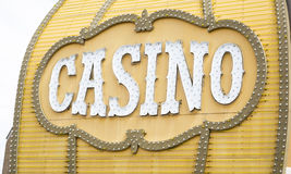 Antique Casino Sign on Building. Antique Casino Sign with Lights on Building Stock Image