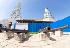 Antique cast iron cannon in the Resurrection New Jerusalem Monastery in Istra. Russia Stock Photos