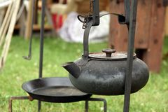 Antique cast-iron kettle Royalty Free Stock Image