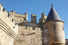 Antique castle battlement detail in Olite, Navarra in Spain Stock Photography