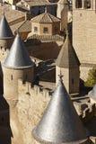 Antique castle battlement detail in Olite, Navarra in Spain Stock Image