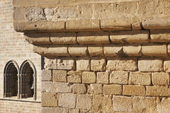 Antique castle facade detail in Olite, Navarra. Spain Royalty Free Stock Images