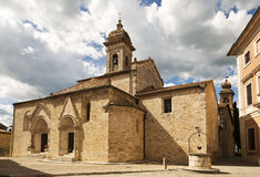 Antique cathedral of San Quirico d'Orcia, Siena, Italy Stock Image